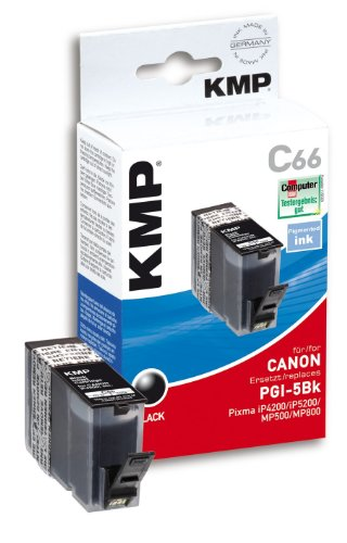 KMP Druckpatrone C66 Tinte schwarz (kompatibel Canon PGI-5Bk) - mit Chip