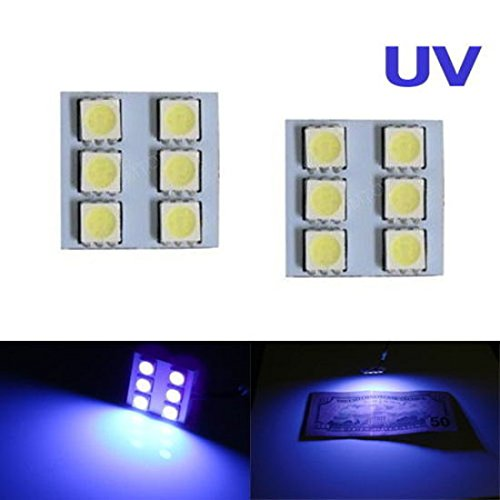 Ijdmtoy® (2) Uv Ultra Violet 6-Smd Led Panel Lights For Car Interior Map/Dome/Courtesy Door/Foot Area/Trunk Cargo Lights