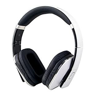 August EP650 - Bluetooth Wireless Stereo NFC Headphones - Comfortable Leather Cushioned Headset with built-in Microphone, 3.5mm Audio In Socket and Rechargeable Battery - White
