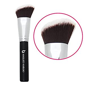 Blush Brush Angled Kabuki Makeup Brush By Beauty Junkees: High Quality Synthetic Makeup Brush, Ideal for Blending, Contouring, Stippling, Works with Creams, Powders, Liquids, and Mineral Makeup. Synthetic Dense Bristles That Do Not Shed, Quality Compares to Brand Names; Makes Great Stocking Stuffers!