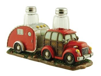 Salt & Pepper Set, Woody Vintage Car with RV Camper Trailer, 9-inch, Collectible Kitchen Decor