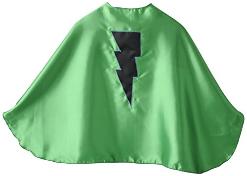 Superfly Kids Green Superhero Cape with Black Lightning Bolt