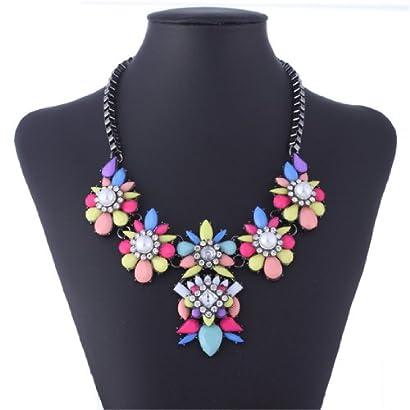 Black Chain Resin Flower Beaded Y Bib Statement Choker Necklace