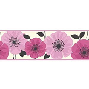 Fine Decor Poppie Wallpaper Border Pink White by Fine Decor