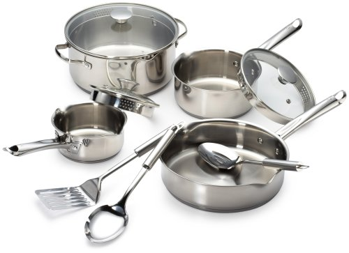 WearEver A834S9 Cook and Strain Stainless Steel Cookware Set, 10-Piece, Silver