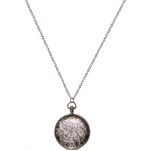 Watch Case Locket with Floral Etching In Silver Tone with Antique Finish