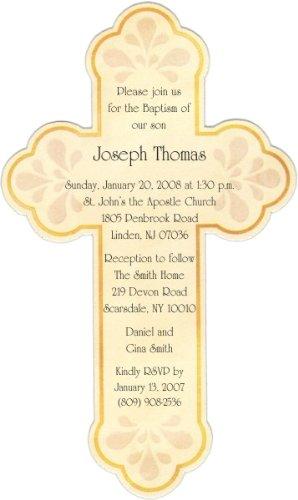 Cream Diecut Cross Baptism Christening Invitations - Set Of 20 front-1054223
