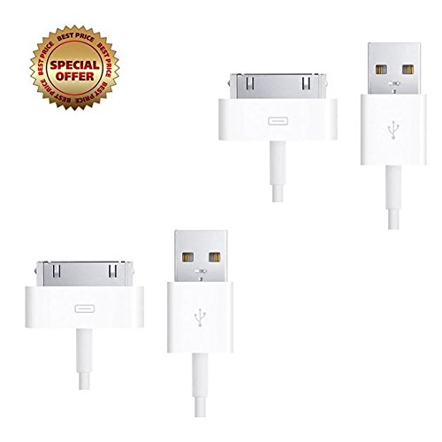 [Apple Certified] 2Pcs Iphone 4S Charger Cable 30 Pin Dock Connector To Usb Cable Sync And Charge For Apple Iphone 4 4S 3Gs, Ipad 2 Ipad 3 ,Ipod Touch, Ipod Nano, 0.5M, White