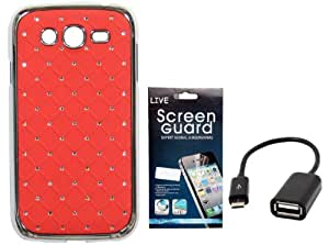 KolorEdge Back cover + Screen Protector+ OTG Cable for Samsung Galaxy Grand I9082 - Red