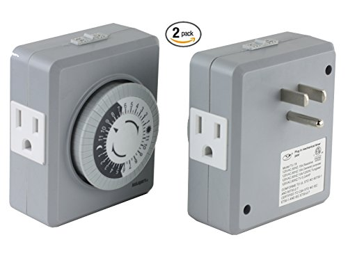 Instapark Tu19 24-Hour 15 Amp Heavy-Duty Plug-In Mechanical Timer With Dual 3-Pin Grounded & Polarized Outlets, 2-Pack