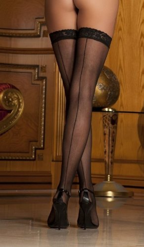 Rene Rofe Sexy Lace Top Sheer Hold Up Stockings with Backseam from Divine Me Boutique - One Size 8023