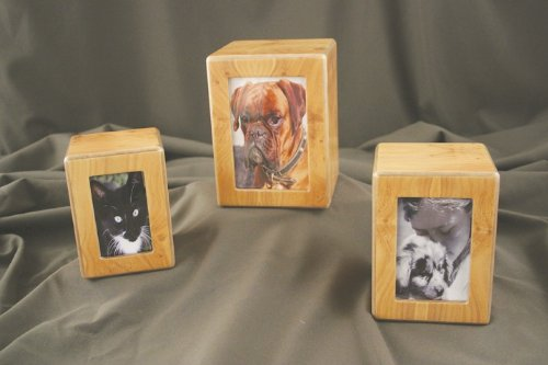 Pet Urn Birch Wood Finish Photo Box Pet Urn Pets up to 65 lbs