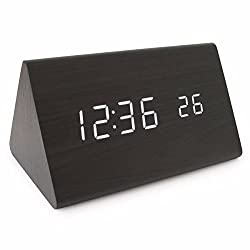 KING DO WAY Modern MDF Wood Grain Triangle Desk Bed LED Digital Alarm Clock with Temperature Function Clap on Sound Control