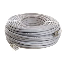 Professional Cable Category 5E Ethernet Network Patch Cable with Molded Snagless Boot, 100-Feet, White (CAT5WH-100)
