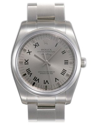 Rolex Airking Silver Roman Dial Domed Bezel Mens Watch 114200SASO