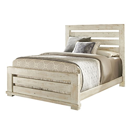 Montrose Distressed White Slat Bed (Queen)