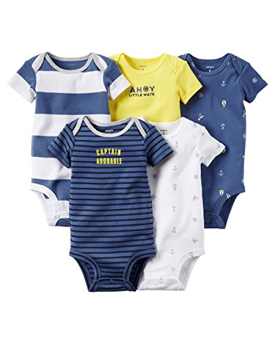 Carter's 5 Pack Bodysuits, Stripe/Anchor, 6 Months