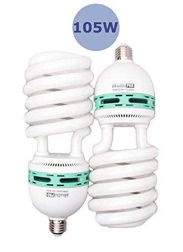 StudioPRO Professional Quality 105 Watt CFL Photo Fluorescent Spiral Daylight Light Bulbs 5500K Color Temperature (2 Pack)