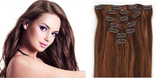 RemyHair Clip-In-Extensions fur komplette Haarverlangerung hochwertiges Remy-Echthaar 38CM 16clips 70g#430 mischen