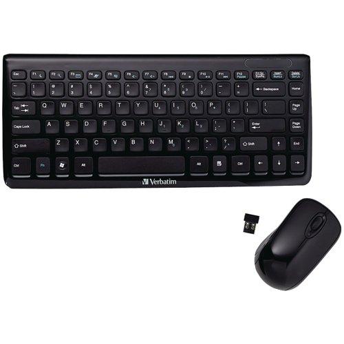 Verbatim 97472 Mini Wireless Slim Keyboard and Mouse (Black)