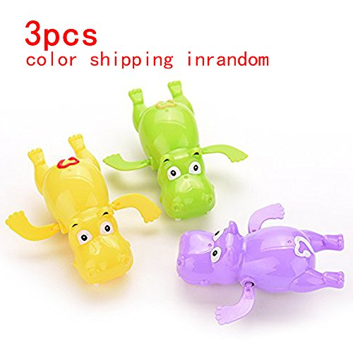 Cute Wind Up Hippo Toys Baby&Boys&Girls Bath Swimming Tub Pool Toy,Toddler Pool Bath Play Tools Hot Purple Yellow Green Shipping in Random (Tub Temperature Gauge compare prices)
