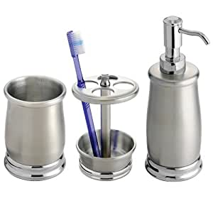 Countertop Accessories : Amazon.com: InterDesign Stainless Steel Bath Countertop Accessory Set ...