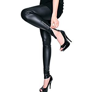LeggingsQueen Ankle Zip Faux Leather Leggings (Black, Medium)