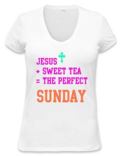 Jesus Sweet Tea Perfect Sunday Funny Slogan T-Shirt Womens V-Neck T-Shirt Medium
