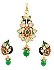 TheArtJewellery - Chequered Polki Pendant Set In Peacock Design
