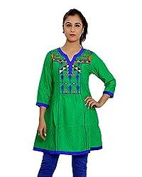 JPF Kurtis Women's Cotton Straight Kurtas(D-01246_M_Green, Green, M)