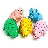 Multipet's 9-Inch Latex Polka Dot Globlet Pig Dog Toy, Assorted Colors
