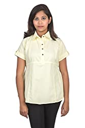 Juee Women's Half Sleeve Shirt (JU107SY8HFYEL) (Medium)
