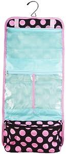 Black & Pink Polka Dot Hanging Cosmetic Bag