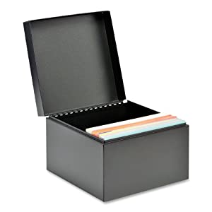 STEELMASTER Steel Card File Box, Fits 5 x 8 Inches Index Cards, 900 Card Capacity, 8.5 x 6 x 8.5 Inches, Black (263858BLA)