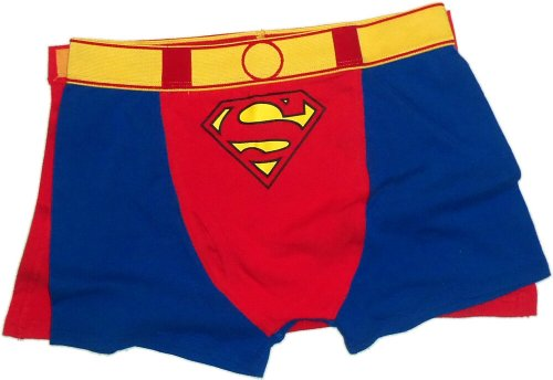 Superman Costume -- Men's Boxer Briefs With Removable Cape, Small