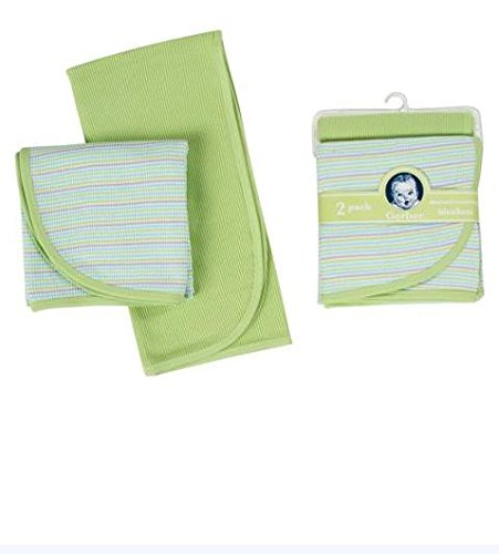 Gerber 2 pack Thermal Receiving Blanket 100% Cotton (Green) - 1