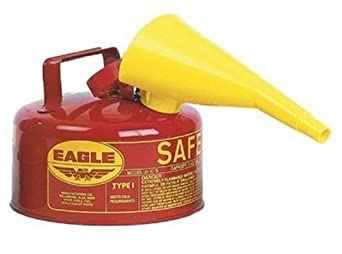 """Eagle UI-10-FS Red Galvanized Steel Type I Gasoline Safety Can with Funnel, 1 gallon Capacity, 8"""" Height, 9"""" Diameter"""