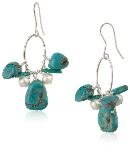 Sterling Silver Oval Link, Turquoise and Freshwater Cultured Pearl Drop French Wire Earrings