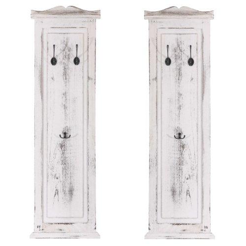 2x-Garderobe-Wandgarderobe-Garderobenpaneel-Wandhaken-109x28x35cm-Shabby-Look-Vintage-wei