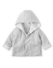 Pure Cotton Hooded Balloon Embroidered Jacket