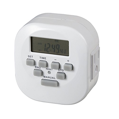 Westek Te06Whb 2 Outlet Digital Timer With 2 Grounded Outlet, White