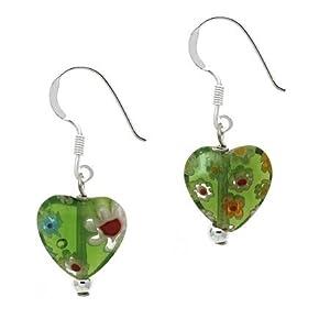 Sterling Silver .925 Murano Glass Green Bead Millefiori Heart Dangle Earrings