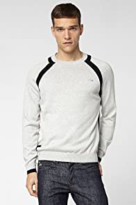 Crewneck Jersey Sweater With Colorblock Detail