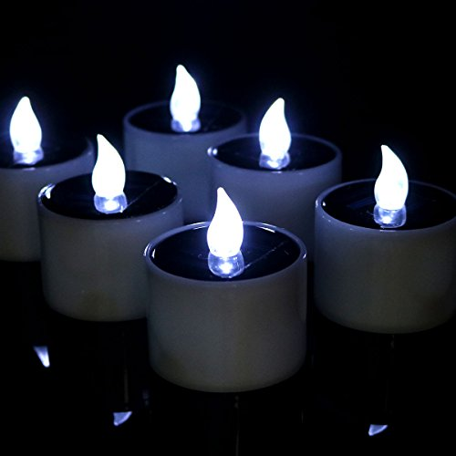 Micandle Set of 6 Solar Tea light Candles,Battery Operated Flicker Flameless LED Candles-Cool White Flickering (Solar Powered Window Candles compare prices)
