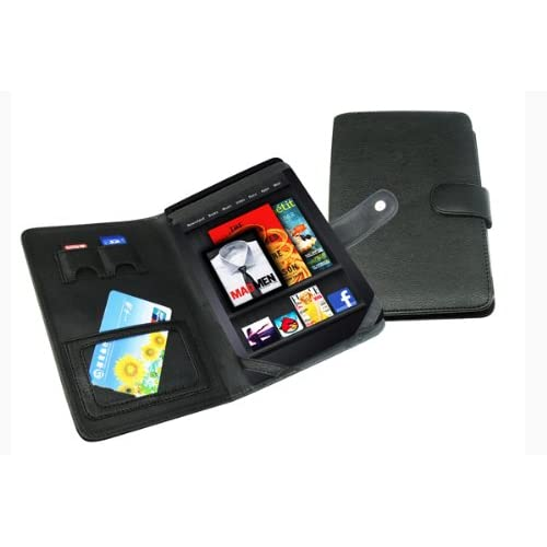 slim Black Leather Folio Case Cover Pouch for Kindle Fire MID Tablet P267