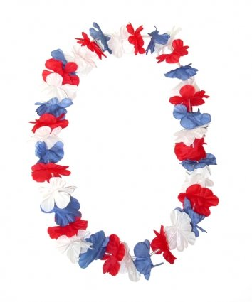 Accessory: Island Lei Red/White/Blue for Fancy Dress Accessory Garland Lei