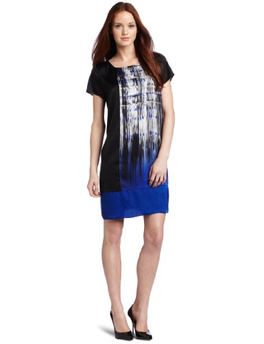 Kenneth Cole New York Women's Petite Placed Brush Stroke Printed Tunic Dress