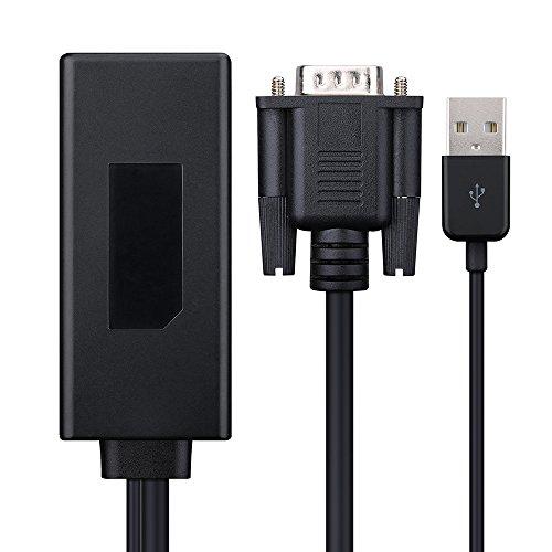 Patech VGA to HDMI変換アダプタ 1080p対応 ビデオオーディオ出力同期 VGAポート持つデスクトップ/ラップトップ/ノートパソコン/PC/HD TV-ボックス to HDMI端子持つHDTV/ モニター/プロジェクター アダプタ(ブラック)
