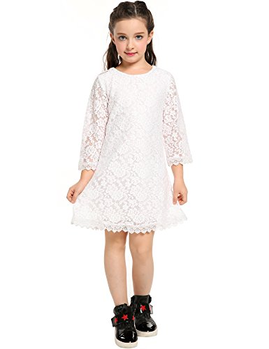 Arshiner Flower Girl Lace Dress with Sleeves