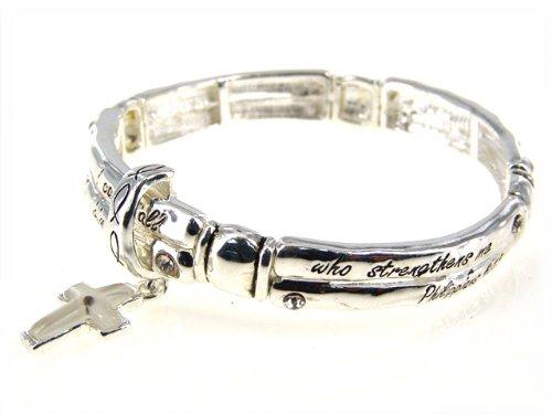 4030254 Religious Christian Bible Cross Jewelry Bracelet Philippians 4:13
